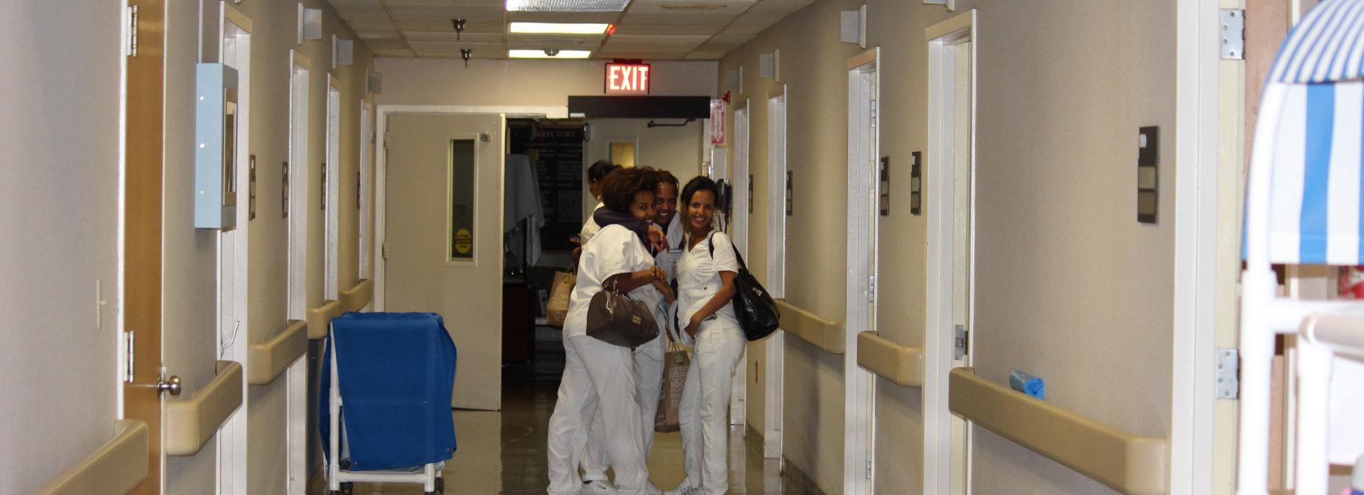 group of female nurses on the hallway
